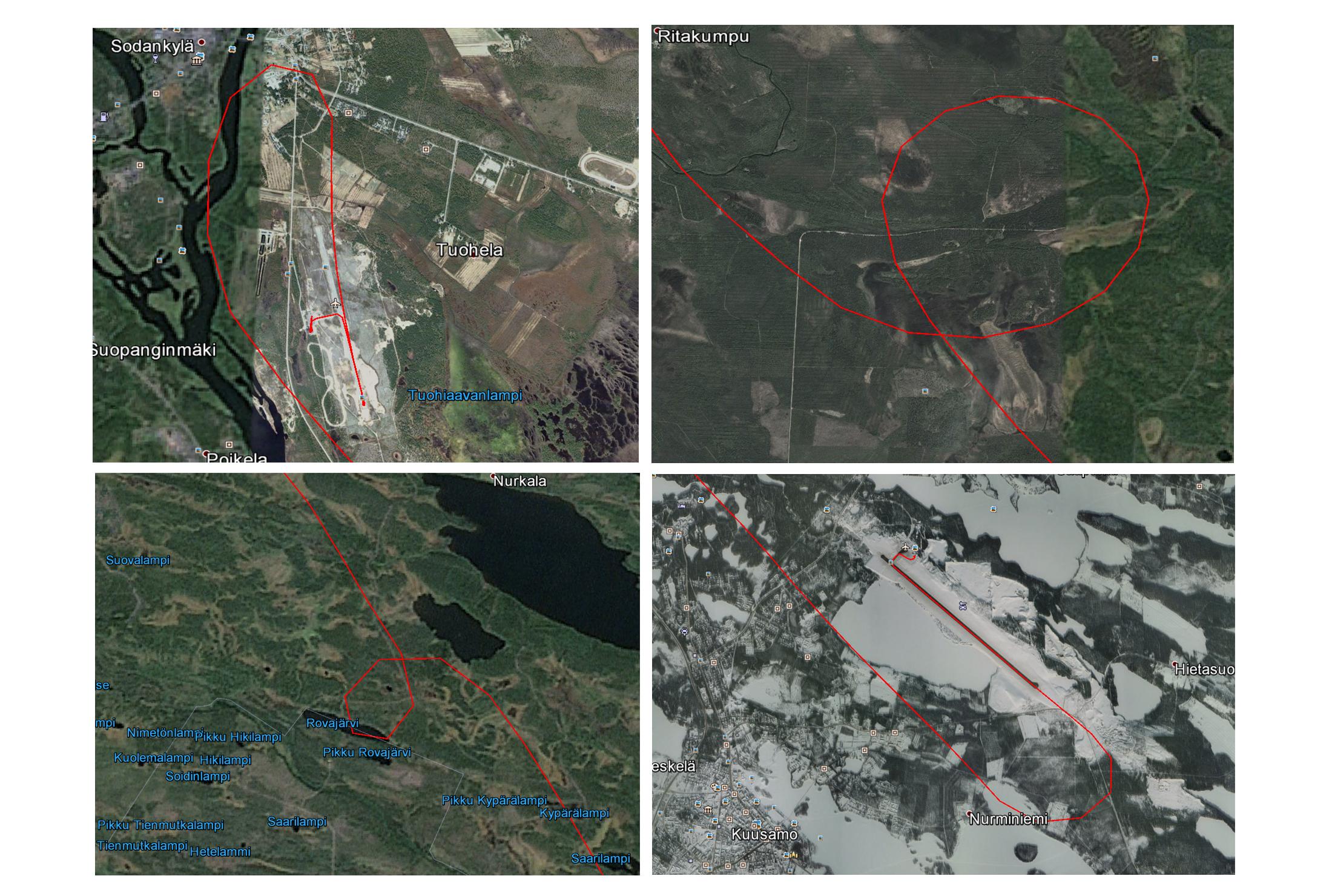 GPSMap 296:lla tallennettu jälki, eli track data
