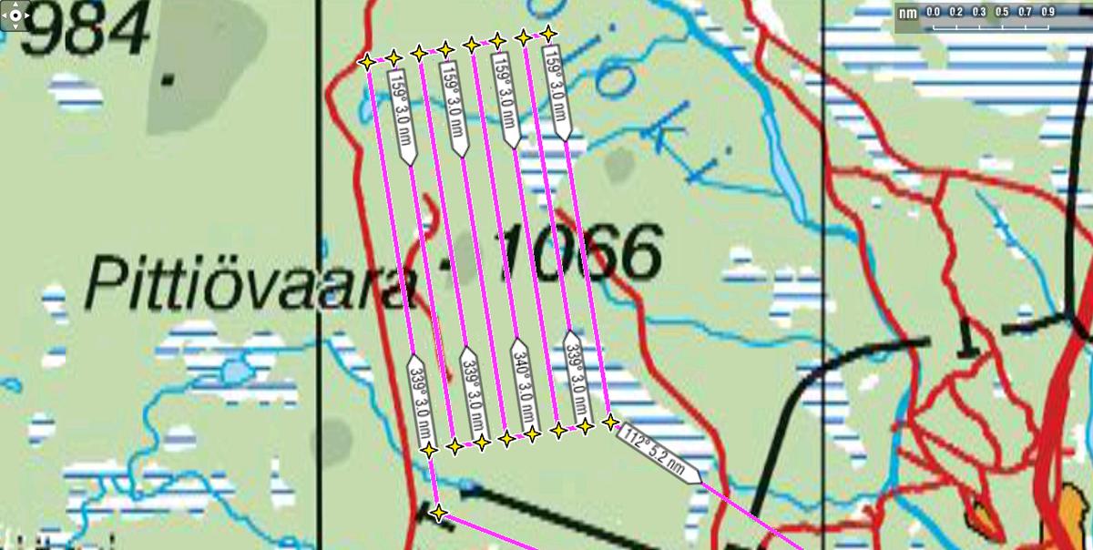 Yhdensuuntaismenetelmä siirtoväli 370 m