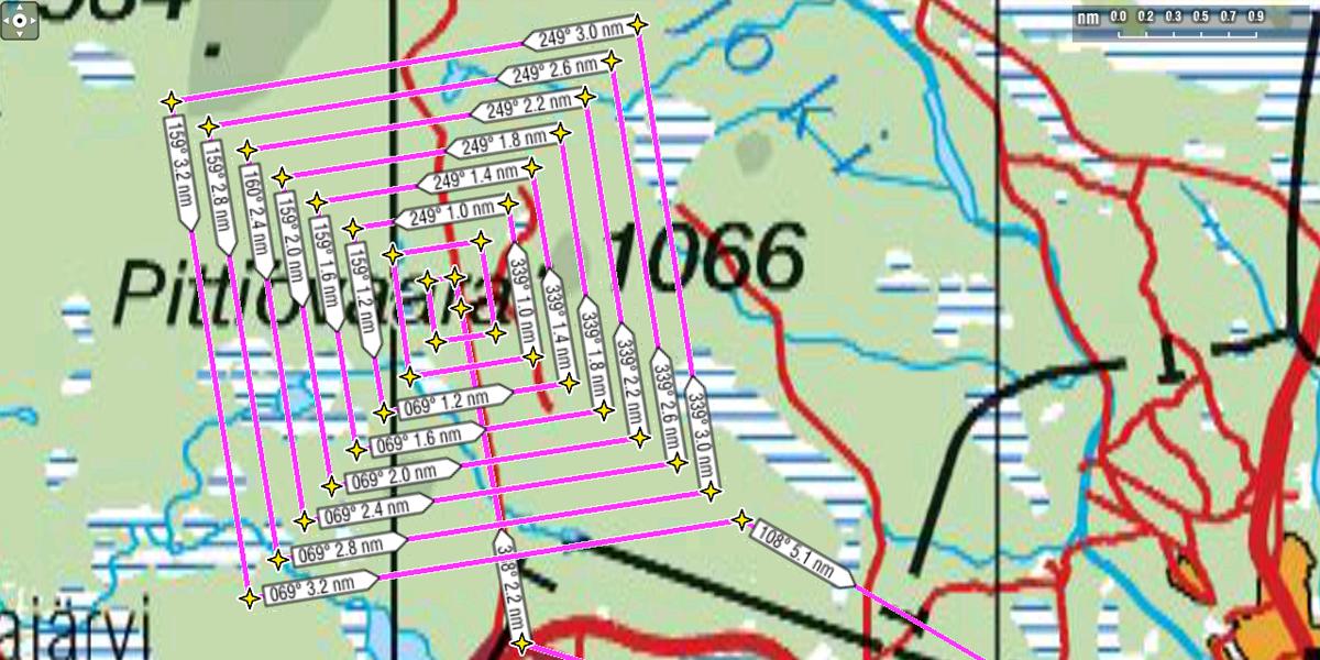 Laajeneva neliömenetelmä, siirtoväli 370 m