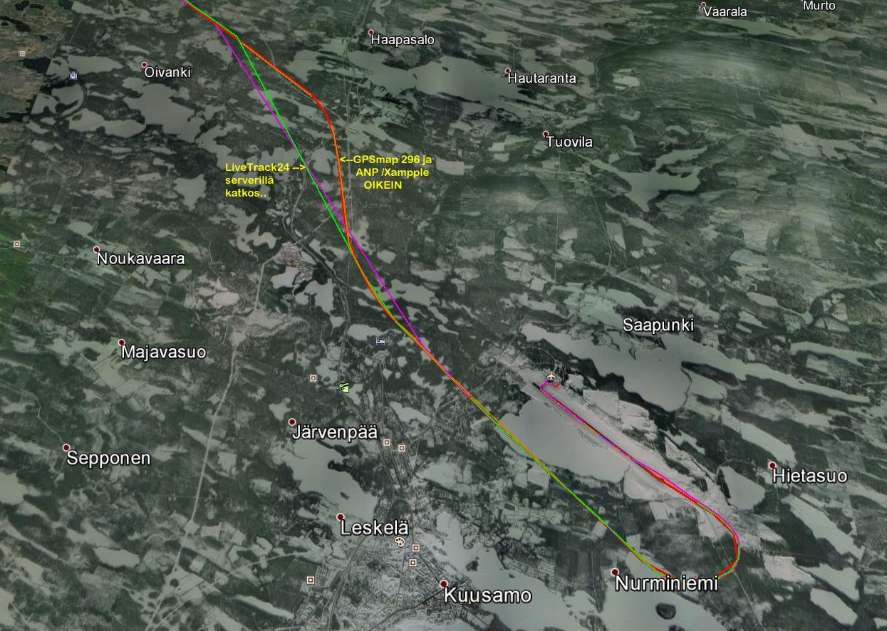 Kuvasta näkee, että LiveTrack 24 serverillä tai serverille on ollut tiedonsiirtokatkos. GPSmap 296 ja Air Nav Pro data on oikein.