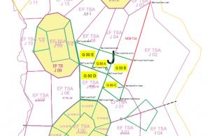 EFSO purjelentoalueet G 50 A-E sekä ehdotettu uusi TSA alue